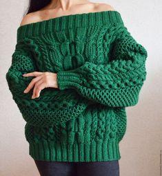 Купить Свитер рубан с аранами - тёмно-зелёный, свитер, ручная работа, рубан, свитер вязаный