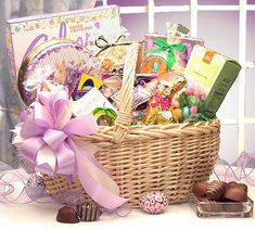 "This enormous willow basket is overflowing with several delicious Easter treats for ""Every Bunny"" to share. Includes Easter tin filled with fudge, assorted double chocolate cream truffles, key lime sour drops candies, spring butter mints, almond lemon cookies, and the list goes on!! $84.99 & S/H To see this gift in my store visit: http://shop.o2o.com/item.php?LBB-wou881b7M-21109 ~ I would love to be your Personal Gift Consultant.. #Eastergiftideas #giftbaskets"