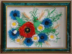 quilling , квиллинг, полевые цветы( мак, ромашки, васильки, колоски), букет панно flowers