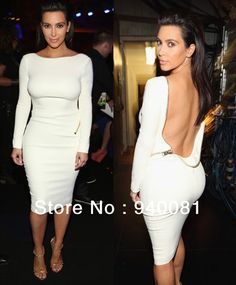 ... Scoop 2014 kim kardashian Dress Long Sleeve Red White Sheath Knee-Lenght celebrity red carpet ...