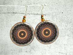 Orange brown dangle earrings decoupaged earrings by ShoShanaArt