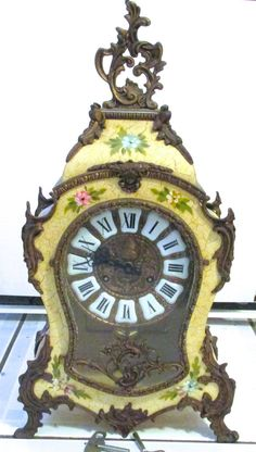 Vintage Boulle Mantle Clock Floral Inlay By Bucherer