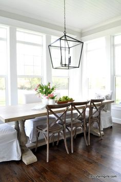 31 ideas farmhouse dining table lighting breakfast nooks for 2019 Farmhouse Dining Room Lighting, Dining Table Lighting, Trestle Dining Tables, Farmhouse Dining Chairs, Dining Chair Slipcovers, White Dining Chairs, Rustic Wood Dining Table, Dinning Room Light Fixture, Accent Chairs