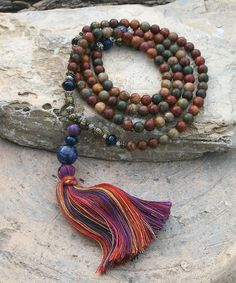 Beautiful jasper gemstone mala necklace / wrist por look4treasures