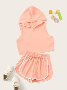 To find out about the Girls Hooded Tee & Knot Waist Dolphin Shorts Set at SHEIN, part of our latest Girls Two-piece Outfits ready to shop online today! Girls Fashion Clothes, Teen Fashion Outfits, Mode Outfits, Pajama Outfits, Crop Top Outfits, Cute Lazy Outfits, Stylish Outfits, Teenager Outfits, Kids Outfits Girls