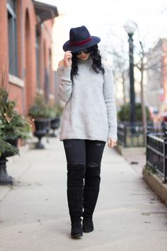 RD's Obsessions: My Favorite Accessory, cold shoulder sweater, distressed jeans, distressed black denim, over the knee boots, wool hat, wool fedora hat