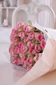 A bouquet of small pink roses.