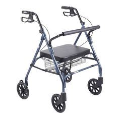 Drive Heavy Duty Blue Bariatric Large Padded Seat Rollator Walker #DriveMedical