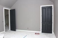 Gray walls, white trim, black doors | WefollowPics
