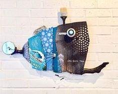 Ka Nalu I'a, Wave Fish, Reclaimed Wood, Wall Hanging, black, silver, grey, turquoise, blue, ocean, pesce