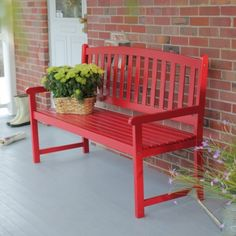Coral Coast Pleasant Bay 5 ft. Slat Curved-Back Outdoor Wood Bench - Red - Outdoor Benches at Hayneedle