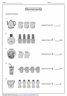 Printable measuring capacity worksheets contain estimating capacity of real life objects, reading graduated cylinder, measuring jug and Capacity Activities, Capacity Worksheets, Volume Worksheets, Worksheets For Grade 3, Measurement Worksheets, Volume And Capacity, Singapore Math, Math Help, School