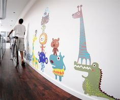 Free Shipping - Large Colorful Jungle Animals Fabric Wall Decals for Kids Rooms - Unique Eco-friendly Fabric Wall Stickers for Nursery, Toddler Rooms, Day Care Centers - Fabric Wall Murals for Kids Rooms, Bedrooms, Playrooms, Library, Doctor's Office