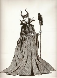 UGH my scanner is too small for this image! Off to see Maleficent! Fingers crossed that it will be am. Maleficent Art, Malificent, Maleficent Costume, Disney And Dreamworks, Disney Pixar, Disney Love, Disney Art, Disney Villains, Disney Characters