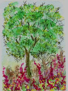 Aceo Original Water Colour Painting ' The Big Tree ' 2.5 x 3.5 ins £2.90