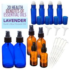 great starter kit for making your own essential oil DIY projects- 20 pieces for only $30 and free shipping!! Cobalt Blue Glass Roll On Bottles, Refillable Blue Spray Bottle, Empty Dropper Bottles, Amber Sprayer Bottles, Plastic Pipettes, Funnels, Essential Oil Guide and How to Reference Material. you can buy them by clicking on this photo
