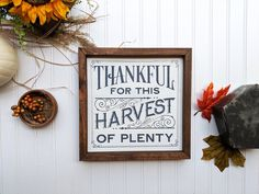 Thankful For This Harvest Of Plenty Fall Decor, Wood Signs, Fall Decor, Custom Wood Signs, Modern Fa Rustic Home Interiors, Rustic Decor, Fall Decor, Wood Signs, Rustic Outdoor Decor, Custom Wood, Types Of Furniture, Custom Wood Signs, Rustic House
