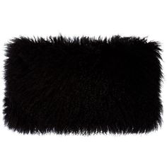 Donna Karan Home Flokati Wool Pillow (355 CAD) ❤ liked on Polyvore featuring home, home decor, throw pillows, bags, pillow, black, wool throw pillows, black accent pillows, black home decor and black throw pillows