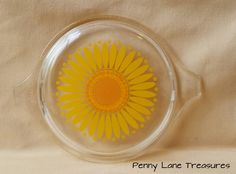 Vintage PYREX Sunflower Lid ~ #470-C  ~ 1980's ~Cinderella Bake-Serve-Store Casserole Lid ~ Replacement Lid by PennyLaneTreasures on Etsy