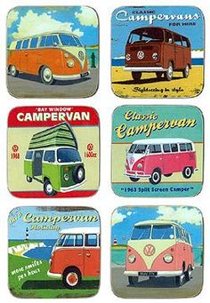 VW camper van coasters My dad had a VW van. Loved riding in it! Volkswagen Transporter, Volkswagen Bus, Vw Camper, Beetles Volkswagen, Vw Caravan, Kombi Motorhome, Campervan, Retro Campers, Happy Campers