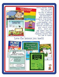 Every teacher knows that the right curriculum is the key to making lessons engaging and meaningful.  With educational products from Kinder to 5th grade and from Reading, ELD, Math and Grammar to Spanish and Writing your search stops here.  Start your new school year off with robust academic engaging lessons that are FUN TO TEACH!