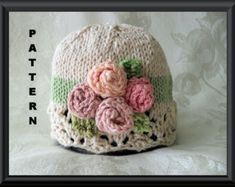 Knitting Pattern for Baby Hat-Lace Cloche-Hand Knitted BABY HAT PATTERN in Ivory and Pastel Green with Miniature Roses-Rosie Posy