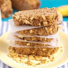 Banana Tea Party Bread (add extra banana, extra yogurt or a little honey (scant 1/4 cup) and top with walnuts mixed with brown sugar)