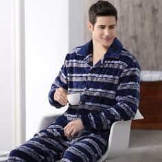 Men Flannel Pajamas Set Casual Home Clothing Winter Long Sleeve ...