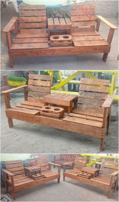 Adorable DIY Ideas for Shipping Pallets Reusing - Pallet furniture - Wood Pallet Crafts, Diy Pallet Projects, Woodworking Projects Diy, Wooden Pallets, Wood Projects, Pallet Benches, Pallet Couch, Pallet Tables, Outdoor Pallet