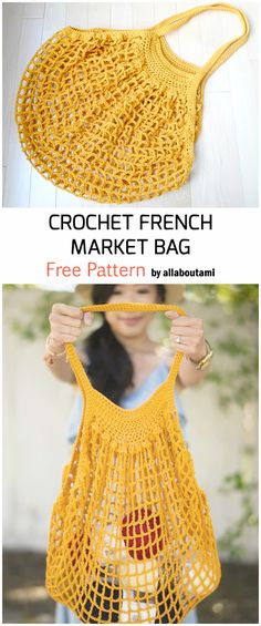 Crochet french market bag free pattern free crochet patterns for beginners crochet crochetbag crochetpatterns learn how to crochet for absolute beginners Crochet Diy, Crochet Simple, Bag Crochet, Crochet Market Bag, Crochet Gifts, Crochet Bag Patterns, Crocheted Purses, Chrochet, Crochet Stitches