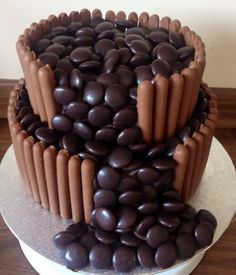 Galaxy Minstrel cake. Anyone wanting to do this cake - DO NOT put minstrels in the fridge. They turn a horrid grey colour!!
