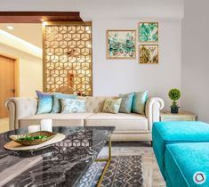Living in Gurgaon and looking for a beautiful house design? This home in New Town Heights is done up in fusion style with a great mix of colours. Indian Living Rooms, Living Room Modern, Small Living, Living Room Decor Tips, Living Room Designs, Drawing Room Interior, Drawing Room Furniture, Sofa Design, Interior Design