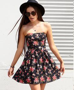Strapless Rose Print Dress | FOREVER21 - 2025101629