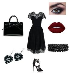 """""""Request from my older brother"""" by eno-scarlet ❤ liked on Polyvore featuring Pauline Trigère, Giuseppe Zanotti, Lime Crime, Bling Jewelry and Witch Worldwide"""