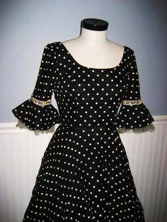 Black and white polka dot, 1950's cocktail dress, hunnybearvintage