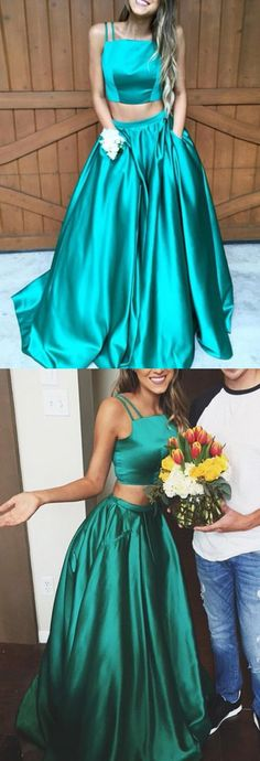 Elegant A-Line Two Piece Spaghetti Straps Pocket Ruched Prom/Homecoming Dress