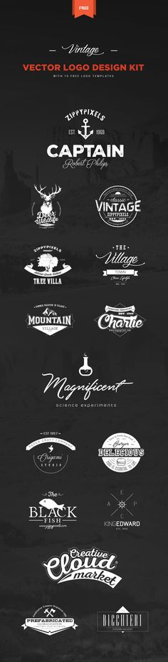 This free vintage logo design kit includes 15 beautifully crafted free vintage themed logo templates. You can use them as part of your branding, labeling and packaging design projects. Plus, you get the freedom to create your own personalized logos from 2…