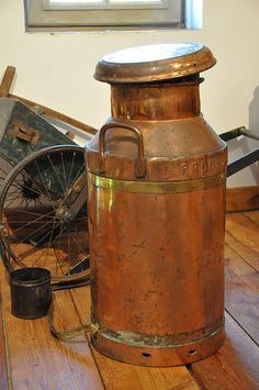Antique French Copper Milk Can, Pays d'Auge, France