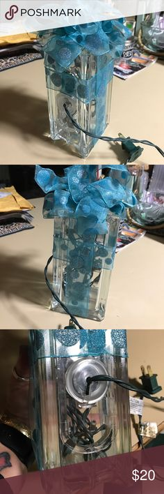 Present  light Glass block made into present --needs lights inside to light it up!! Hole already included you just need to add whatever colored lights you wish!!! Super Cute for yourself OR as a present!! Other