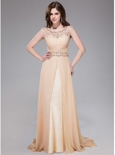 ad62a7dd3ef A-Line Princess Scoop Neck Sweep Train Chiffon Lace Evening Dress With  Ruffle Beading Sequins - JJsHouse