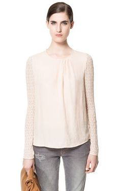 Zara blouse with lace sleeves