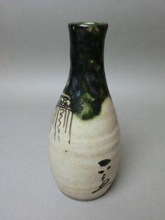 """Japanese Antique sake bottle """"Tokkuri"""" Oribe ware"""