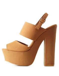 Bamboo Slingback Chunky Platform Heels by Bamboo at Charlotte Russe - Chestnut