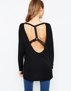 ASOS Tunic Top With Ring Detail In Premium Fabric