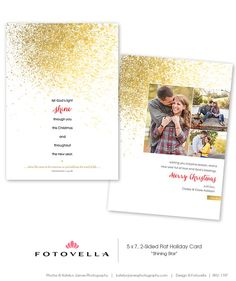 """""""Shining Star"""" Christian Christmas Card Template  Photoshop Template by FOTOVELLA  // http://fotovella.etsy.com  //  Featured images © Katelyn James Photography"""