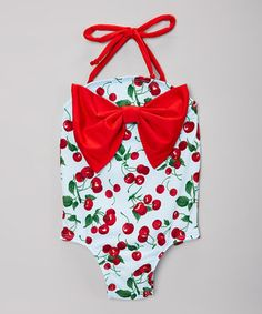 Blue & Red Cherry Bow One-Piece - Infant & Toddler