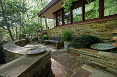 """""""Laurel"""" - the only Frank Lloyd Wright house in Delaware. The """"hemicycle design"""" refers to the curved exterior wall of windows facing Shellpot Creek. (I love landscape, also)."""