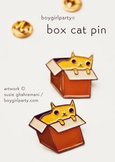 Box Cat Enamel Pin by Susie Ghahremani / boygirlparty -- http://shop.boygirlparty.com/products/box-cat-pin-cat-in-box-pin-enamel-cat-pin-cat-box?variant=19967079431