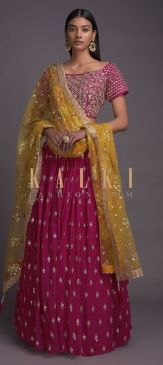 Rani pink lehenga in georgette with zari and sequins embroidered buttis. Waist adorned with abla and cut dana embroidery. Embroidery Online, Pink Lehenga, Mehendi, News Design, Sequins, Sari, Bridesmaid, Pattern, Stuff To Buy