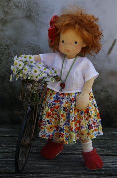 Painted Freckles, Copper Red Hair, Liberty Print, Waldorf Dolls, Baby Alpaca, Flower Making, Summer Girls, Needle Felting, Art Dolls